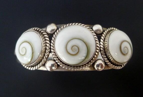 Sterling Silver Shiva Eye Cuff Bracelet - Handmade Silver Shell Cuff - Custom Made Silver Shell Bracelet - Custom Made Silver Bracelet