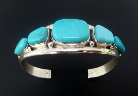 Sterling Silver Turquoise Cuff - Handmade Sterling Silver Turquoise Bracelet - Turquoise Statement Bangle - Custom Made Cuff
