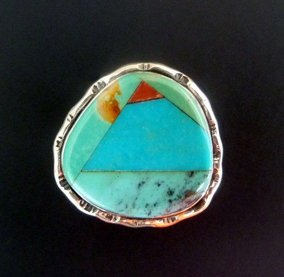 Turquoise and Red Coral Inlay Statement Ring - Handmade Sterling Silver Ring with Turquoise and Red Coral - Size  7.75