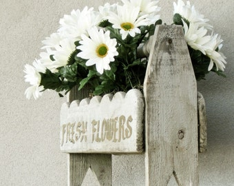 Floral Silk Arrangement in Rustic Weathered Trough Filled with Gerbia Daisies Handmade by OlliesFineThings
