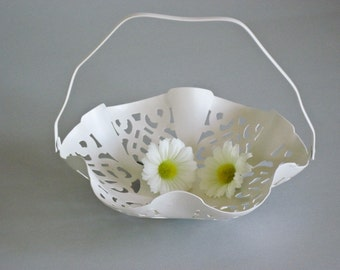 Pierced Wedding Basket Pierced Metal Basket Cottage Chic Hand Painted Heritage White by OlliesFineThings