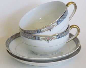 China Cups and Saucers Noritake The Basel ca 1921 Set of Two Art Deco Style