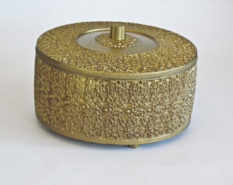 Storage Sewing Box Gold Round Embossed Vintage Lucite