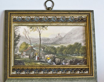 50% Off Old Artwork French Country Scene Art Gravure by Sungott Art Studios NY Brass Trimmed Gilded Frame