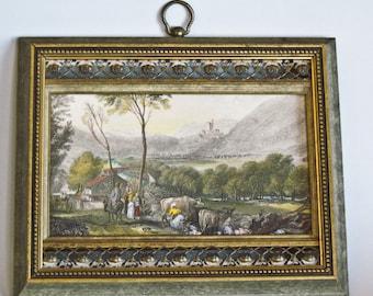 Old Artwork French Country Scene Art Gravure by Sungott Art Studios NY Brass Trimmed Gilded Frame