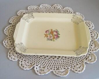 Serving Platter Vintage 1920s Rectangular Shape Cream Background with Floral Transfer Pattern