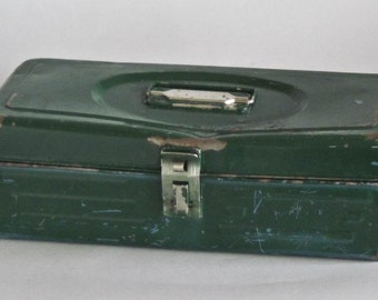 Shabby Metal Tackle  Box in Shabby Green Storage or Shelf Sitter