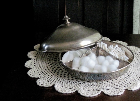 Divided Silver Bowl with Domed Lid Serving and Storage