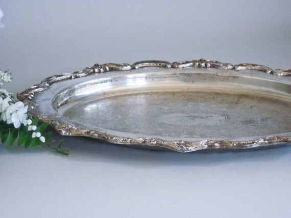 Oval Tray Large Silver Plate Serving Display or Perfume Tray
