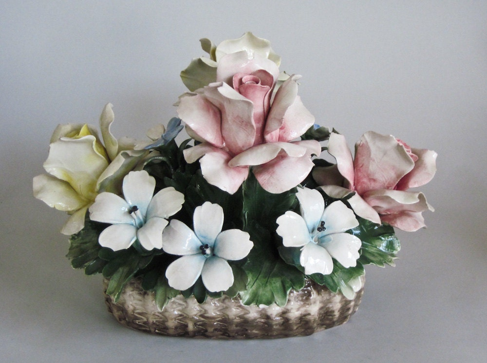 Antique Italian Capodimonte Style Porcelain Roses Basket Of