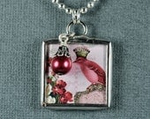 Crown Pendant French Necklace Crowned Bird Pendant Soldered Glass Charm