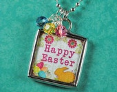 Easter Necklace Easter Egg Charm Soldered Glass Pendant
