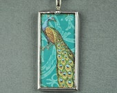 Aqua Peacock Necklace Pendant Soldered Glass Art Charm