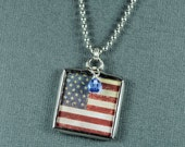 American Flag Necklace July 4th Necklace Soldered Glass Pendant