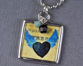 Black Crow Pendant Heart Necklace Edgar Allan Poe Jewelry Black Heart Pendant