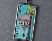 Eiffel Tower Pendant Paris Necklace Hot Air Balloon Charm
