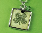 Shamrock Necklace St Patricks Day Pendant German Glitter Clover Charm