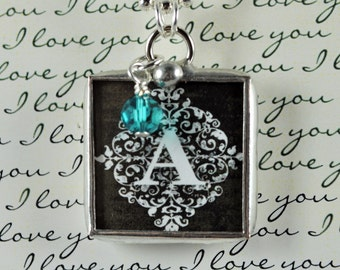 Birthstone Necklace Personalized Initial Pendant Soldered Art Charm