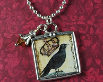 Black Crow Necklace Keep Calm Carry On Pendant Soldered Glass Necklace