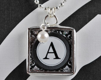 Typewriter Letter Necklace Custom Initial Pendant Soldered Glass Charm