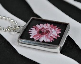 Flower Necklace Crown Pendant Soldered Glass Pendant