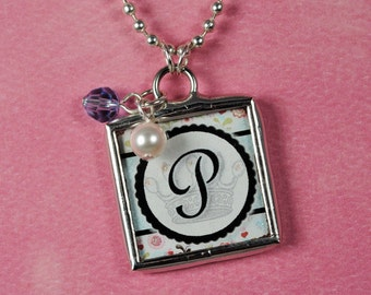 Floral Initial Necklace Personalized Letter Pendant Birthstone Charm