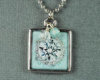 Blue Diamond Necklace Heart Pendant Soldered Charm