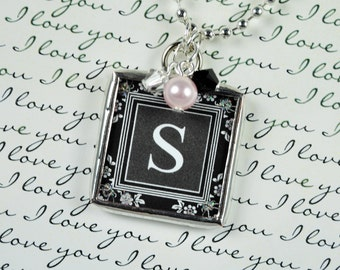 Damask Initial Necklace Personalized Letter Pendant With Birthstone