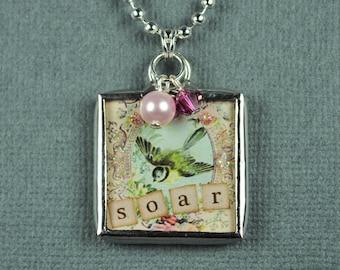 Dream and Soar Necklace Birthsotne Pendant Hand Soldered Glass Charm