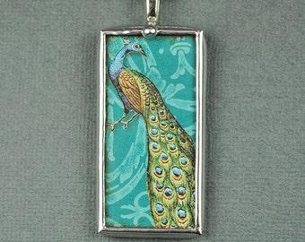 Aqua Peacock Necklace Pendant Soldered Glass Art Charm