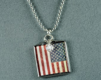 American Flag Necklace American Flag Pendant Patriotic Jewelry