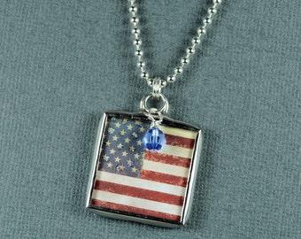 Vintage Amercian Flag Necklace US Flag Pendant