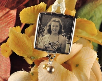 Vintage Autumn Wedding Memorial Photo Bouquet Charm