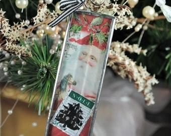 Santa Ornament Christmas Ornament Holiday Decor Soldered Glass Ornament