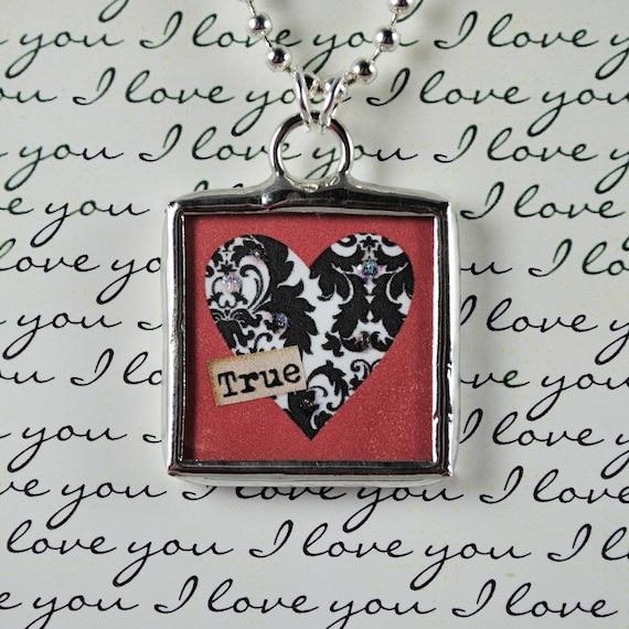 True Love Necklace Heart Pendant Valentines Jewlery Soldered Charm