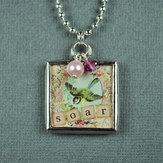 Dream and Soar Necklace Birthsotne Pendant Hand Soldered Glass Charm