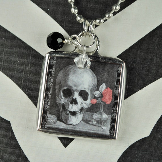 Goth Skull Necklace Halloween Jewelry Soldered Glass Charm