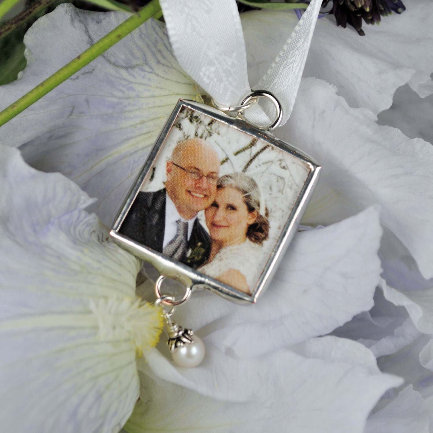 memorial bridal bouquet photo charm with swaovski by glassrealm