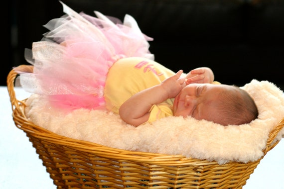 Princess Pink Tutu New Born to 6 months Baby Tutu Photo Prop Tutu Layers of Pink and White With Princess Sparkle Cuteness EtsyKids Team