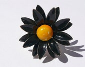 Jenny Ring - repurposed vintage - black and yellow enameled flower