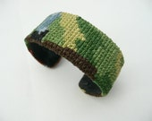 Jana bracelet - cuff - covered with hand embroidered vintage tapestry - repurposed