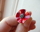 RESERVED for Jeni - Two similar Petit coquelicot rings - little poppy - red enameled flower- repurposed vintage