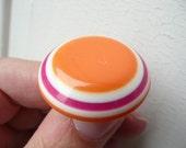 Eve ring - lucite round layered ring - orange white fuchsia - eco friendly upcycled repurposed vintage