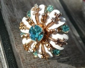 Eugenie cocktail statement ring - gorgeous goldtone white enamel blue rhinestones flower - eco friendly repurposed vintage