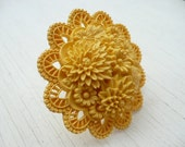 Laure ring - statement mellow yellow carved plastic - repurposed vintage
