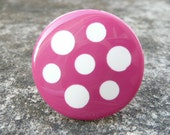 Sanna cocktail ring - pink disc white polka dots statement ring - plastic - eco friendly repurposed vintage