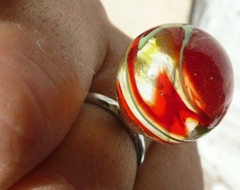 Madeleine ring - genuine chidren marble - colored sunny glass - upcycled eco friendly toy