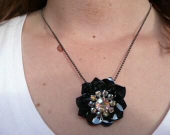 Midnight moon - pendant statement necklace - black and rhinestones flower - eco friendly repurposed vintage