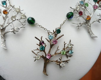 Irma statement necklace - repurposed vintage - trees and beads on a chain - metal glass and rhinestones