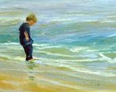 Beach Painting, Original oil painting, sketch, plein air, oil on canvas, wet tootsies